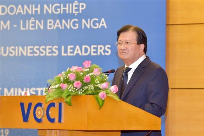 Phó Thủ tướng Trịnh Đình Dũng phát biểu tại Đối thoại DN Việt-Nga 2019. Ảnh: VGP/Nhật Bắc