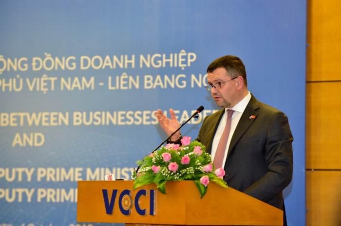 Phó Thủ tướng Nga Maxim Akimov phát biểu tại Đối thoại. Ảnh: VGP/Nhật Bắc